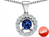 Original Star K™ Round Created Sapphire Pendant style: 306298