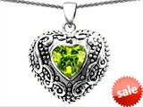 Original Star K™ Bali Style Puffed Heart Hand Finished Heart Shape 7mm Genuine Peridot Pendant