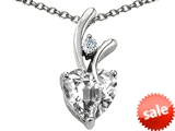 Original Star K™ Heart Shape 8mm White Topaz Pendant