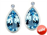 Original Star K™ Pear Shape Genuine Blue Topaz Earring Studs With High Post On Back