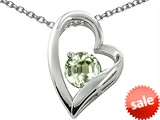 Original Star K™ 7mm Round Genuine Green Amethyst Heart Pendant style: 306309