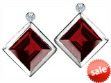 Original Star K™ Square 7mm Genuine Garnet Earring Studs With High Post On Back