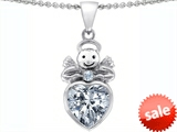 Original Star K™ Love Angel Pendant with 10mm Genuine White Topaz Heart style: 306316