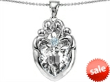 Original Star K™ Large Loving Mother and Twins Family Pendant With Heart Shape 12mm Genuine White Topaz