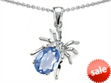 Original Star K™ Spider Pendant With 9x7mm Oval Simulated Aquamarine