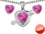 Original Star K™ Created Pink Sapphire Heart with Arrow Pendant with matching earrings style: 306327