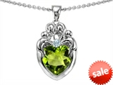 Original Star K™ Loving Mother And Family Pendant With Heart Shape 8mm Genuine Peridot