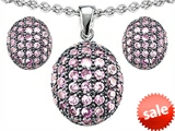 Original Star K™ Created Pink Sapphire Oval Puffed Pendant with matching earrings style: 306331