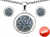 Original Star K™ Simulated Aquamarine Round Puffed Pendant Box Set with matching earrings