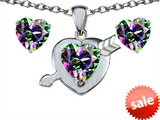 Original Star K™ Rainbow Mystic Topaz 8mm Heart with Arrow Pendant Box Set with matching earrings