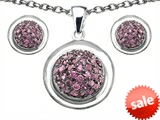 Original Star K™ Created Pink Sapphire Round Puffed Pendant with matching earrings style: 306338