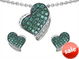 Original Star K™ Simulated Emerald Heart Shape Love Pendant With Matching Earrings style: 306339