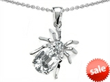 Original Star K™ Spider Pendant With 9x7mm Oval Genuine White Topaz style: 306342