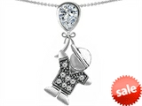 Original Star K™ Little Boy Holding a Balloon Mother Birthstone Genuine White Topaz Pendant