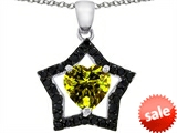 Original Star K™ Heart Shape 8mm Simulated Peridot Black Star Pendant style: 306347