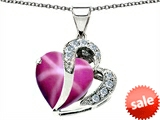 Original Star K™ Large 12mm Heart Shape Created Star Ruby Heart Pendant with Sterling Silver Chain