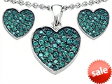 Original Star K™ Simulated Emerald Heart Shape Love Pendant with matching earrings style: 306357