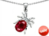 Original Star K™ Spider Pendant With 9x7mm Oval Created Ruby