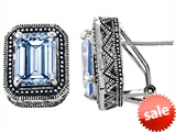 Original Star K™ Bali Style Emerald Cut Simulated Aquamarine Earrings style: 306359