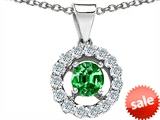 Original Star K™ Round Simulated Emerald Pendant style: 306360