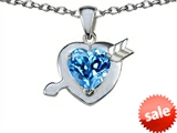 Original Star K™ Heart With Arrow Love Pendant With Simulated Blue Topaz