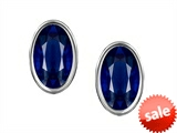 Original Star K™ Oval Genuine Sapphire Bezel Set Small Earrings Studs style: 306365