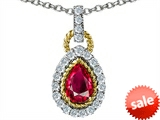 Original Star K™ Pear Shape Created Ruby Pendant