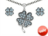 Celtic Love by Kelly Simulated Aquamarine Lucky Clover Pendant with matching earrings style: 306368