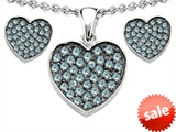 Original Star K™ Simulated Aquamarine Heart Shape Love Pendant with matching earrings style: 306370