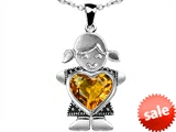 Original Star K™ Little Girl Holding 8mm Heart Mother Birthstone Pendant with Genuine Citrine