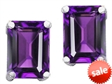 Original Star K™ 8x6mm Emerald Cut Genuine Amethyst Earrings style: 306373