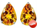 Original Star K™ Pear Shape 9x7mm Genuine Citrine Earring Studs