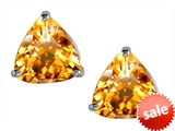 Original Star K™ Trillion 7mm Genuine Citrine Earring Studs