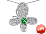 Original Star K™ Butterfly Pendant With Round Simulated Emerald style: 306376