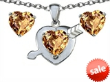 Original Star K™ Simulated Imperial Yellow Topaz Heart With Arrow Pendant Box Set With Matching Earring
