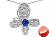 Original Star K™ Butterfly Pendant With Round Created Sapphire style: 306378