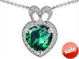 Original Star K™ Heart Shape Simulated Emerald Pendant style: 306379