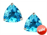 Original Star K™ Trillion 7mm Genuine Blue Topaz Earring Studs
