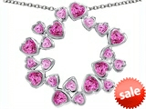 Original Star K™ Large Circle of Love Pendant with 20 Created Pink Sapphire Hearts