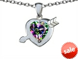 Original Star K™ Heart with Arrow Love Pendant with Rainbow Mystic Topaz style: 306383