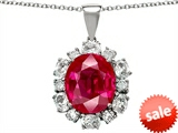 Original Star K™ Oval 12x10mm Created Ruby Pendant