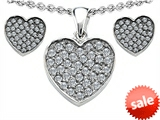 Original Star K™ Cubic Zirconia Heart Shape Love Pendant with matching earrings style: 306388