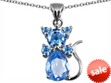 Original Star K™ Cat Pendant With Simulated Aquamarine
