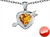 Original Star K™ Heart with Arrow Love Pendant with Genuine Citrine