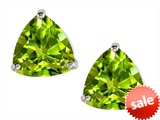 Original Star K™ Trillion 7mm Genuine Peridot Earrings Studs style: 306400