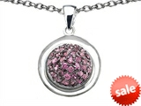 Original Star K™ Round Puffed Pendant with Created Pink Sapphire style: 306404