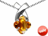 Tommaso Design™ 7mm Clover Cut Genuine Citrine Pendant style: 306405