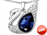 Original Star K™ Love Swan Pendant With Pear Shape Created Sapphire