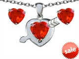 Original Star K™ Simulated Orange Mexican Fire Opal Heart with Arrow Pendant Box Set with matching earrings