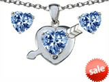 Original Star K™ Simulated Aquamarine Heart with Arrow Pendant Box Set with matching earrings
